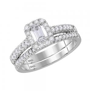 14kt White Gold Womens Emerald Diamond Bridal Wedding Engagement Ring Band Set 1