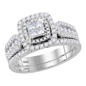 14kt White Gold Womens Princess Diamond Cluster Halo Bridal Wedding Engagement R