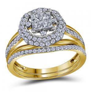 14kt Yellow Gold Womens Princess Diamond Halo Bridal Wedding Engagement Ring Ban