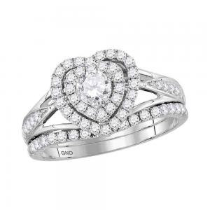 14kt White Gold Womens Round Diamond Heart Bridal Wedding Engagement Ring Band S