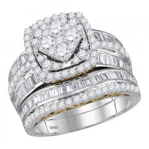 14kt Two-tone White Gold Womens Round Diamond Cluster Bridal Wedding Engagement