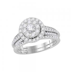 14kt White Gold Womens Round Diamond Halo Bridal Wedding Engagement Ring Band Se