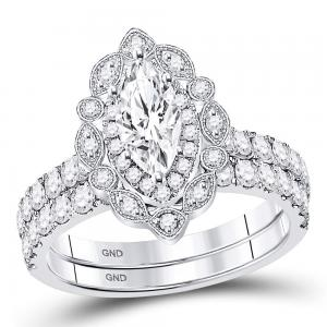 14kt White Gold Womens Marquise Diamond Bridal Wedding Engagement Ring Band Set