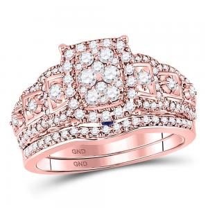14kt Rose Gold Womens Round Diamond Vintage-inspired Bridal Wedding Engagement R