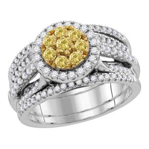 14kt White Gold Womens Round Yellow Diamond Bridal Wedding Engagement Ring Band