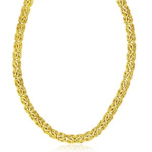 14K Yellow Gold Byzantine Design Stylish Necklace