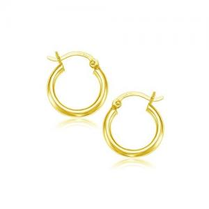 10K Yellow Gold Polished Hoop Earrings (15 mm)