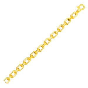 Shiny Oval Link Bracelet in 14K Yellow Gold