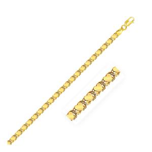 3.3mm 14K Yellow Gold Heart Anklet