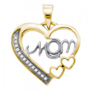 Sterling Silver White Diamond Mom Mothers Womens Heart Love Yellow-tone Pendant