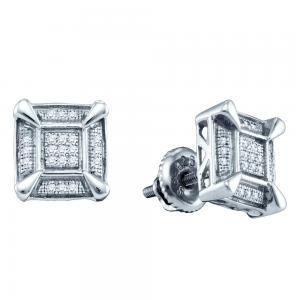 Sterling Silver Mens Round Diamond Square Cluster Stud Earrings 1/8 Cttw