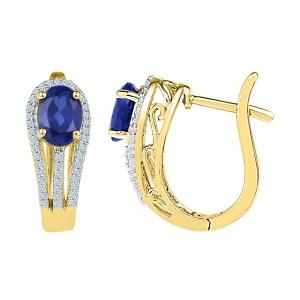 10kt Yellow Gold Womens Oval Lab-Created Blue Sapphire Diamond Hoop Earrings 2-5