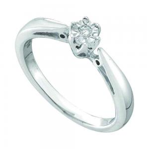 Sterling Silver Womens Round Diamond Solitaire Bridal Wedding Engagement Ring
