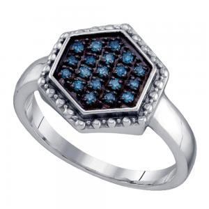 Sterling Silver Womens Round Blue Color Enhanced Diamond Hexagon Cluster Ring