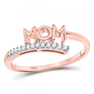 10kt Rose Gold Womens Round Diamond Mom Mother Bypass Band Ring