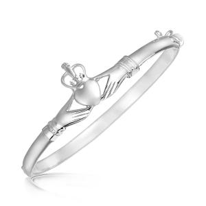 Sterling Silver Claddagh Style Thin Bangle with Rhodium Plating