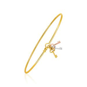 14K Bangle with Yellow  White  and Rose Gold Clover Key Charms