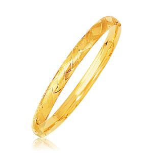 14k Yellow Gold Domed Bangle with a Weave Motif