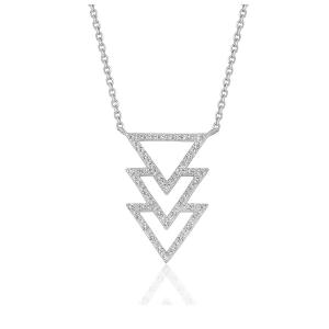 Triple Triangle Pendant with Diamonds in 14K White Gold (1/5 ct. tw.)