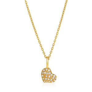 14kt Yellow Gold 16 inch Necklace with Gold and Diamond Heart Pendant (1/10 ct.