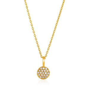 14K Yellow Gold 16 inch Necklace with Gold and Diamond Circle Pendant (1/10 ct.
