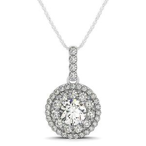 14K White Gold Diamond Halo Round Shape Pendant (1 1/4 ct. tw.)