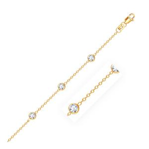 14K Yellow Gold Anklet with Round White Cubic Zirconia