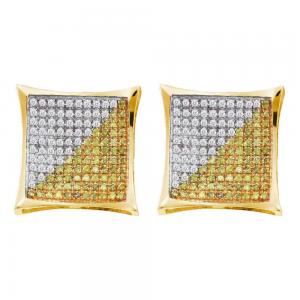 10kt Yellow Gold Mens Round Yellow Color Enhanced Diamond Square Cluster Earring