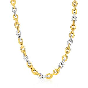 14K Two-Tone Yellow and White Gold Rounded Chain Link Necklace