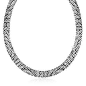 Sterling Silver Rhodium Plated Rounded Design Mesh Necklace