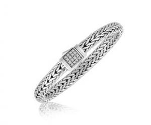 White Sapphire Embellished Men's Braided Style Bracelet in 925 Sterling Silver
