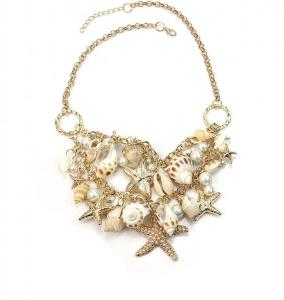 Fashion sea shell starfish faux pearl chunky necklace.  Beautiful sweater collar