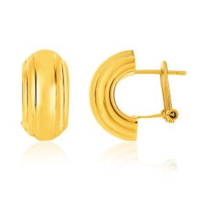 14K Yellow Gold Polished Half Moon Post Earrings