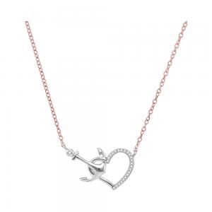 10kt White Gold Womens Round Diamond Heart & Anchor Pendant Necklace 1/12 Cttw
