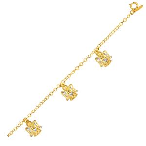 14K Yellow Gold Bracelet with Filigree Style Angels