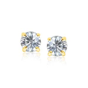 14K Yellow Gold 8.0mm Round CZ Stud Earrings