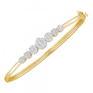 14kt Yellow Gold Womens Round Diamond Flower Cluster Bangle Bracelet 1.00 Cttw
