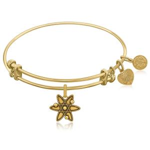 Expandable Yellow Tone Brass Bangle with ATOM Symbol