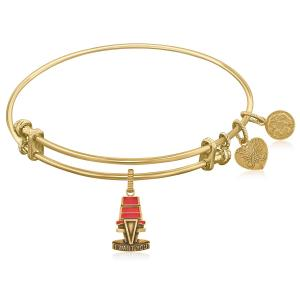 Expandable Yellow Tone Brass Bangle with The Voice Chair Symbol