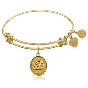 Expandable Bangle in Yellow Tone Brass with Initial D Symbol