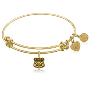 Expandable Yellow Tone Brass Bangle with Route 66 Symbol
