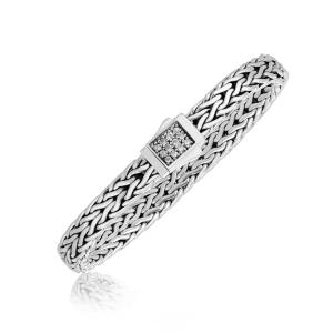 Sterling Silver Braided Men's Bracelet with a White Sapphire Accented Clasp
