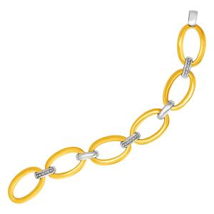 14K Gold and Diamond Oval Link Bracelet (1/5 ct. tw.)