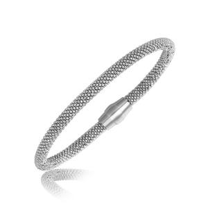 Sterling Silver Rhodium Plated Popcorn Motif Bangle