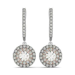 14K White And Rose Gold Drop Diamond Earrings with a Double Round Halo Design (3