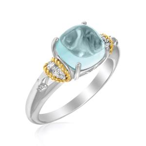 18K Yellow Gold & Sterling Silver Square Polished Blue Topaz and Diamond Ring