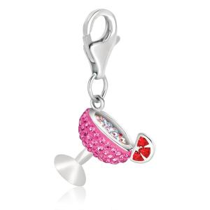 Sterling Silver Cocktail Glass Charm with Pink and Red Crystal Accents