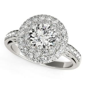 14K White Gold Round Diamond with Two-Row Pave Border Engagement Ring (2 ct. tw.