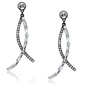stainless steel earring with clear crystal stones