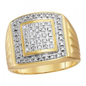Yellow-tone Sterling Silver Mens Round Diamond Square Frame Cluster Ring 1/10 Ct